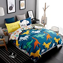 JCHX 3 pieces dinosaur family duvet cover set Kids / Boys Bedding Sets 1 Duvet Cover+2 Pillowcases (navy blue, Twin)