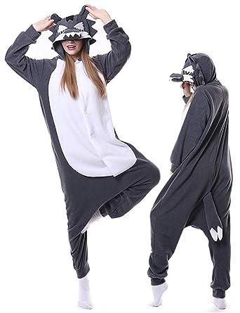 2069430b2163 Amazon.com  Wolf Pajamas Adult Onesies Plus One Piece Cosplay Animal  Halloween Costume for Women Men  Clothing