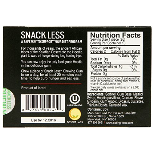 Snack Less Weight Loss Gum - Nature's Hunger Buster! Strawberry Flavor - Box of 12