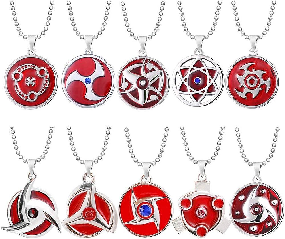 Anime Naruto Collier oeil de roue de sang de kal/éidoscope /éternel Uchiha Sasuke Anime Cosplay Rouge M/étal