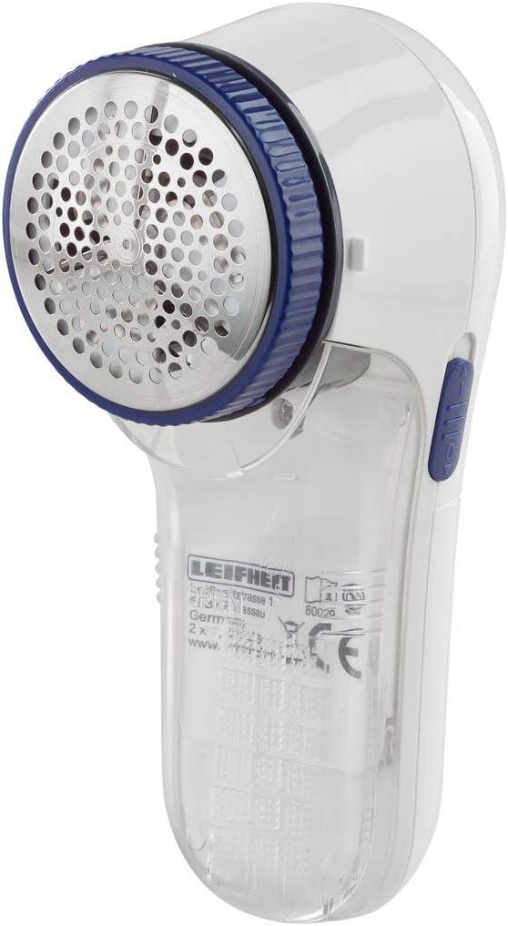wei/ß Leifheit  elektrischer Fusselrasierer//Fusselentferner inkl Batterien und Reinigunsb/ürste kabellos 3-stufig verstellbar f/ür verschiedene Stoffe