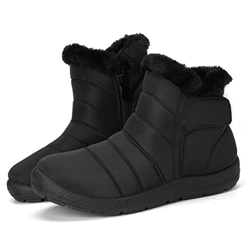 f200add08b06c gracosy Women's Winter Snow Boots Fur Lined Warm Ankle Booties Outdoor  Waterproof Slip on Sneakers Shoes