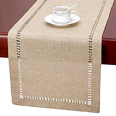 Grelucgo Handmade Hemstitch Beige Table Runner Or Dresser Scarf, Rectangular 14 by 60 Inch -  - table-runners, kitchen-dining-room-table-linens, kitchen-dining-room - 613Wgyx0eeL. SS400  -