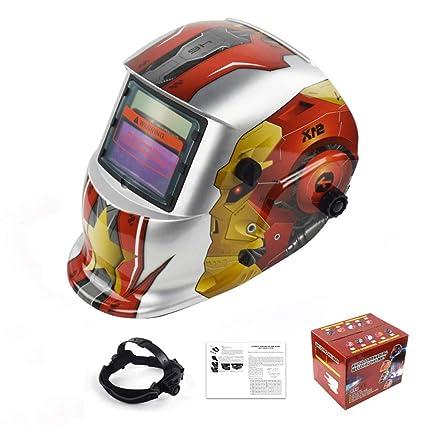 MTSBW Casco para soldar Energía Solar Oscurecimiento automático Campana Soldador Máscara Cascos de Pulido Transpirable con
