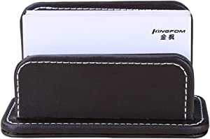 KINGFOM Faux Leather Business Card Holder Name Card Organizer Desktop Card Stand, Capacity 60 Cards of 2.3 ×4 Inches (Brown)
