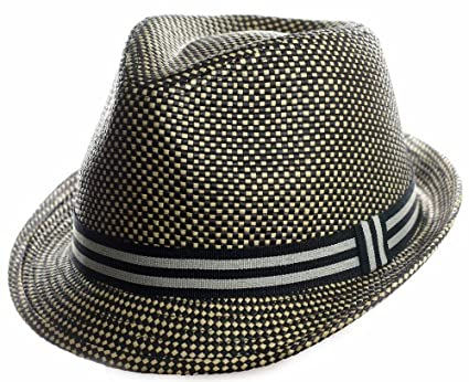 Facnos Light Tiny Chessboard Pattern Straw Fedora Hat with Classic Band 5be292cebe3