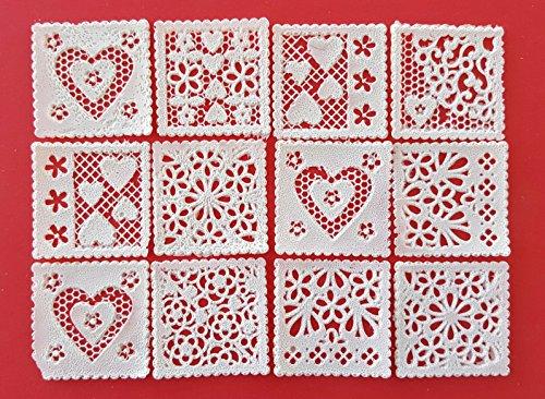 24/Set Edible Lace Flower Heart Designs Square Topper - Decorate as a (Flower Heart Plaque)