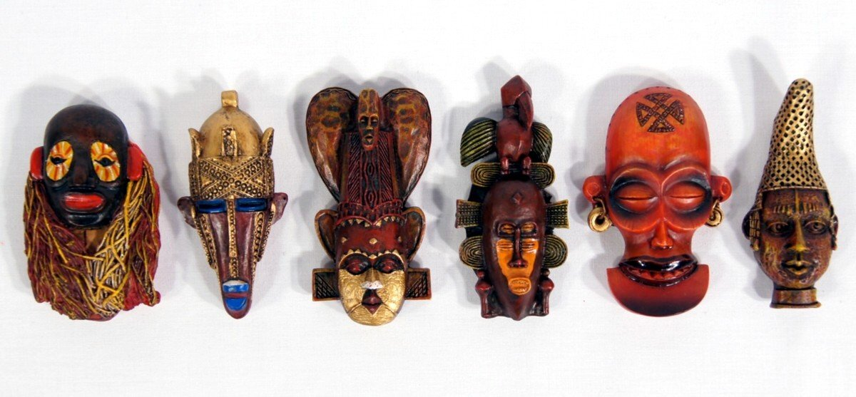 Handpainted Poly Stone African Mask Arts Assorted Magnet (Set of 6 B)