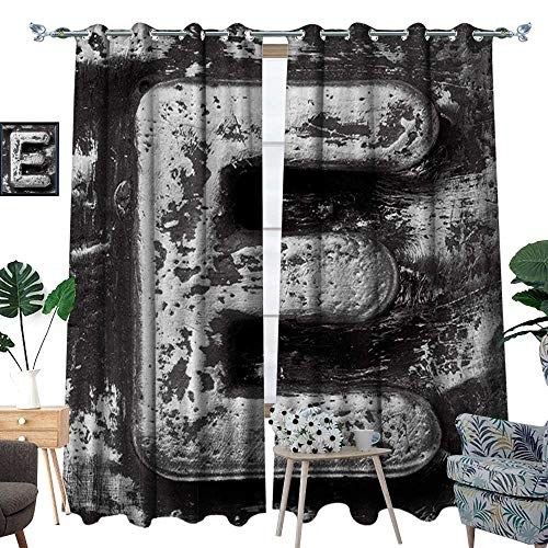 Letter E Window Curtain Fabric Aluminum Colored Decayed Uppercase E Alphabet Character Nostalgic Medieval Initials Drapes for Living Room W72 x L96 Grey