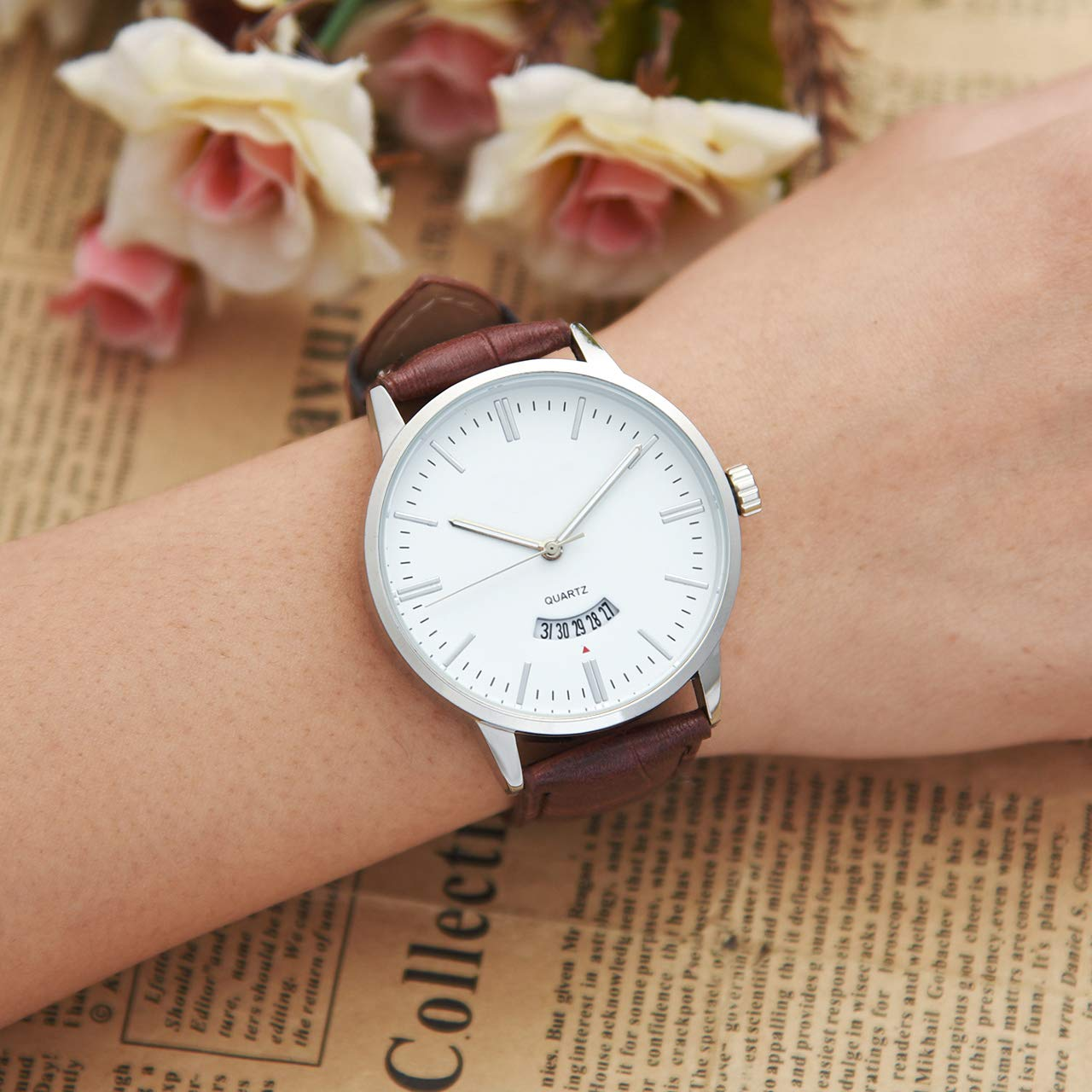 Top Plaza Mens Leather Wrist Watch Classic Simple Silver Analog Quartz Dress Watches with Calendar - Brown #2