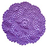 Crochet LaceTable Placemats Doilies Handmade Cotton Round 7.8 inches(20 cm)(Pack of 4)(Purple)