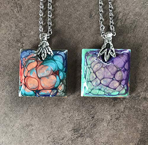 Hand Painted Pendant Necklace - Double Sided Hand Painted Square Pendant Necklace Abstract Jewelry Art Lovers Gift