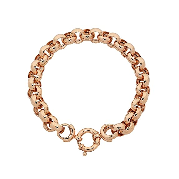 Bevilles 9ct Rose Gold Silver Infused Belcher Bracelet