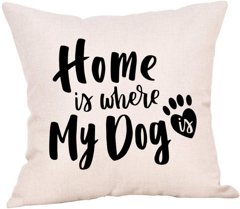 Flowershave357 Home is Where My Dog is Pillow Cover Wagging Tails Wet noses and Love Dog Pillow Cover Dog Lovers Decorative Pillows Gifts Love Pets