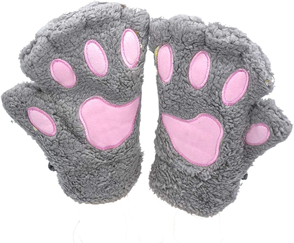 Womens Bear Plush Cat Paw Claw Glove Soft Winter Fingerless Mitten Gloves