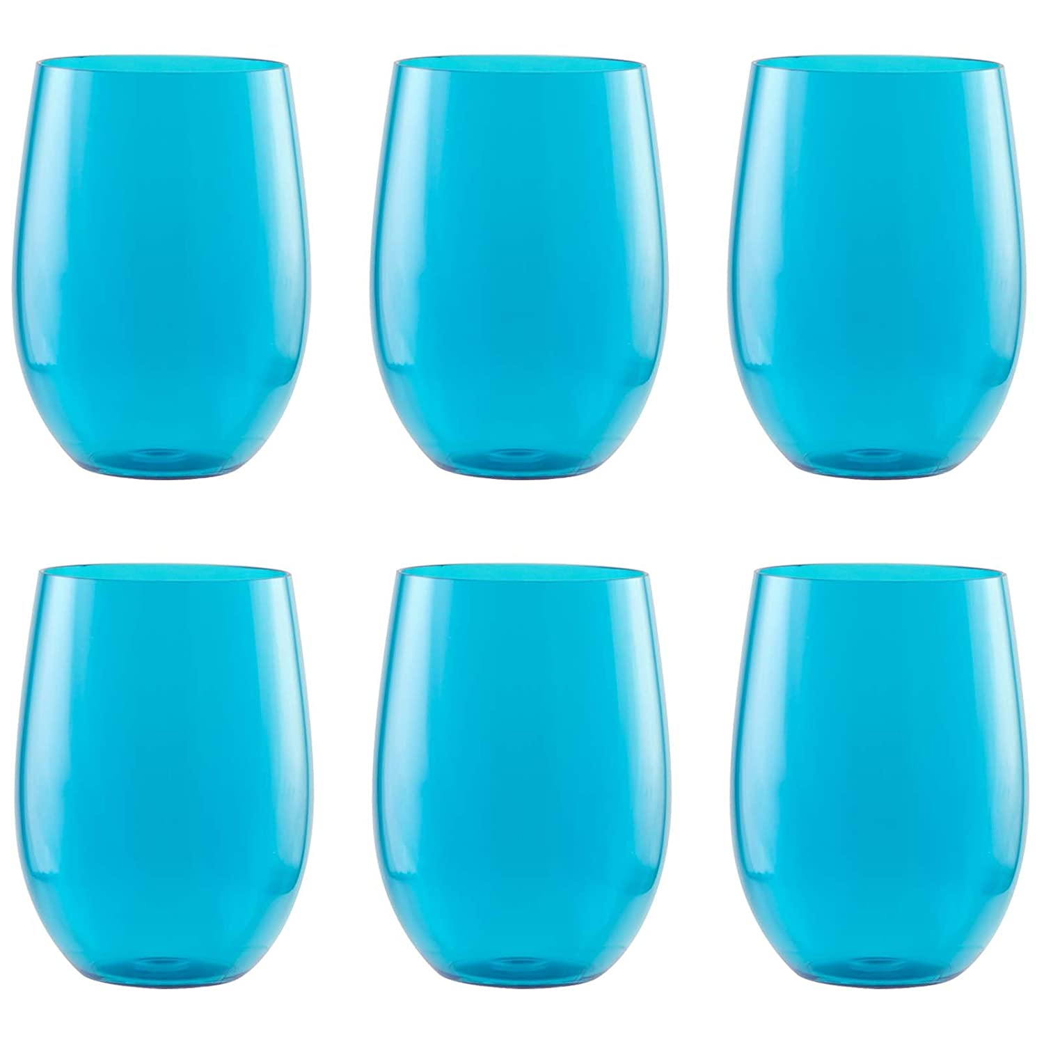 Zak Designs Adele Stemless Wine Glass, Small, Azure, Set of 6 0412-5975-ISET