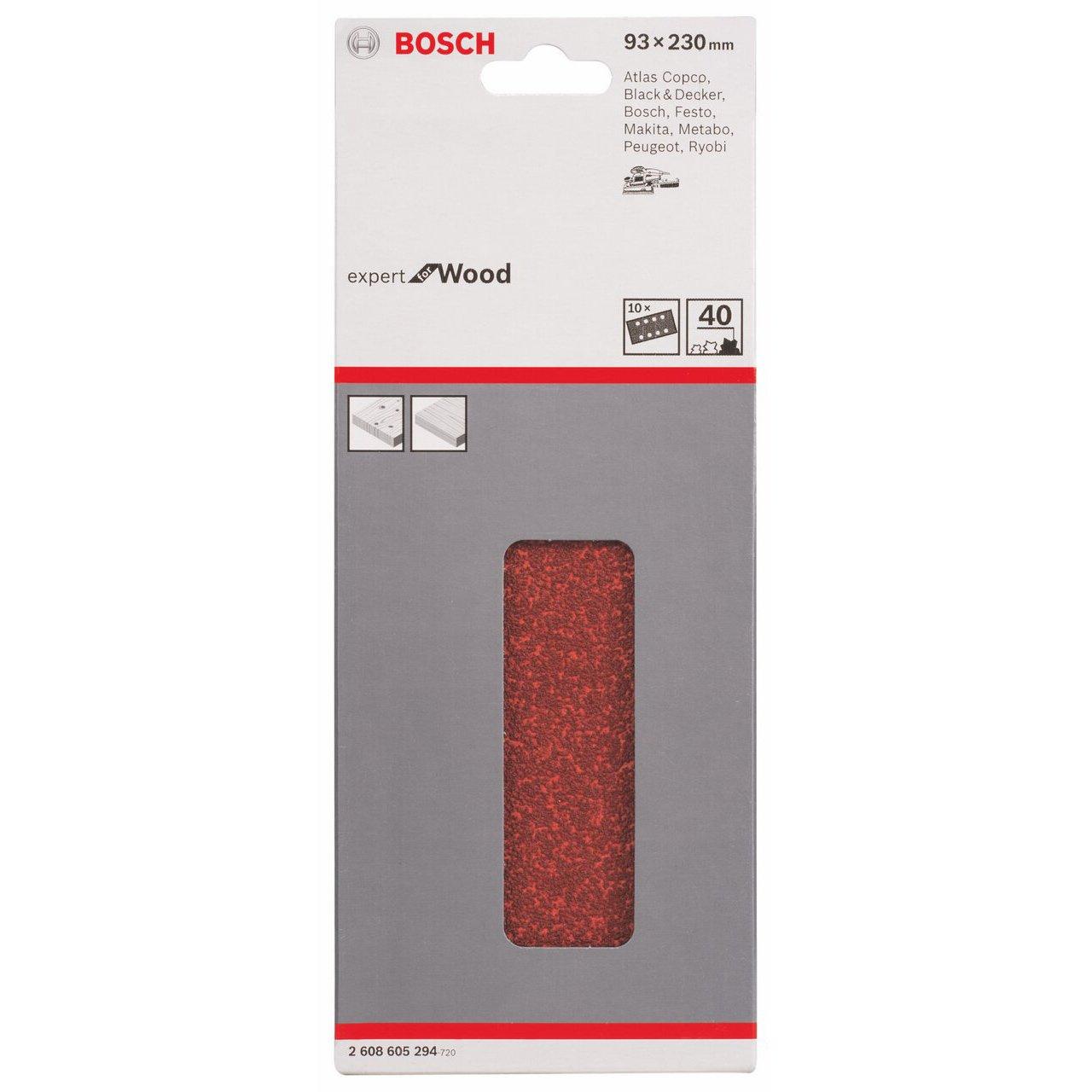 93 x 230 mm, 180 Bosch 2 608 605 300 Juego de 10 hojas lijadoras