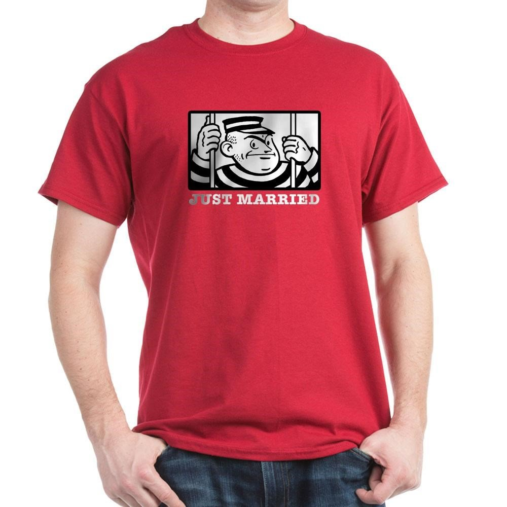 826e97ca Amazon.com: CafePress Just Married 100% Cotton T-Shirt Cardinal: Clothing
