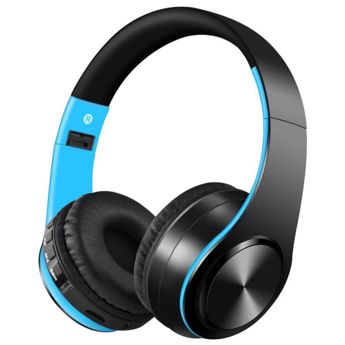 Yuehuam Wireless BT Headphone Foldable Over Ear Stereo Earphone Super Bass Headset Around Ear Bluetooth Wireless Headphones- Black + Blue
