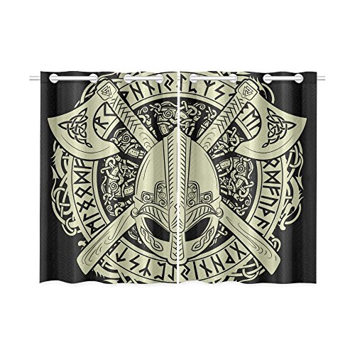 InterestPrint Blackout Window Curtains Viking Helmet Room Bedroom Kitchen Home Living Solid Grommet Window Drapes Curtains 52 X 39 Inch