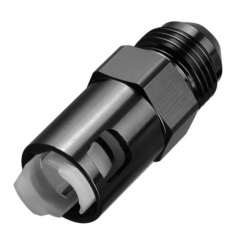 Autobbox Quick Connect Fuel Rail Line EFI Adapter Fitting LS LS1 LS3-6AN Male Flare to 3/8 SAE Hose GM Quick-Disconnect Female Push-On Aluminum Black