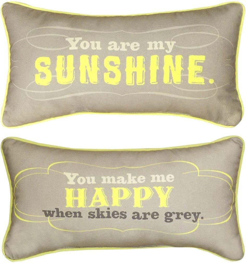 Manual Reversible Throw Pillow, You Are My Sunshine, 17 X 9-Inch