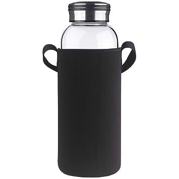 Cleesmil Botella de Agua de Cristal con Funda de Neopreno 1.5 Litro / 1.5 L