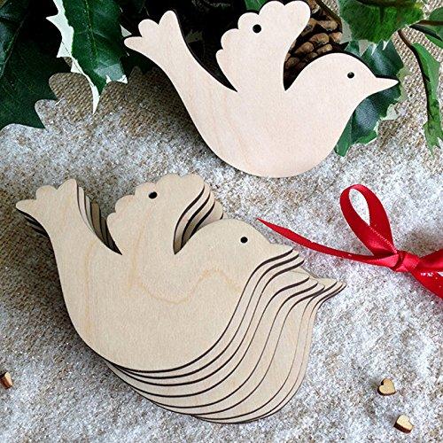 Meridian Outdoor Pendant (Zehui Wooden Bird Decorate Christmas Tree Hanging Ornament Christmas Decoration Pendants 10pcs)