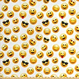 Emoji Fabric By the Yard Ambesonne Emoji Fabric by The Yard, Smiley Face Character Illustration Feeling Happy Surprised Cool and in Love, Decorative Fabric for Upholstery and Home Accents, Yellow Red Black
