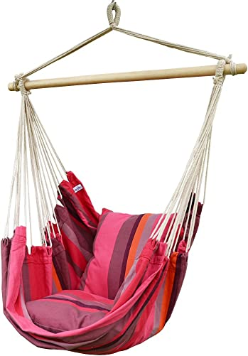 Prime Garden Comfort Cotton Hanging Hammock Chair, Rope Swing Chair with 2 Cushions for Indoor or Outdoor – Max. 275 Lbs Pink Stripe