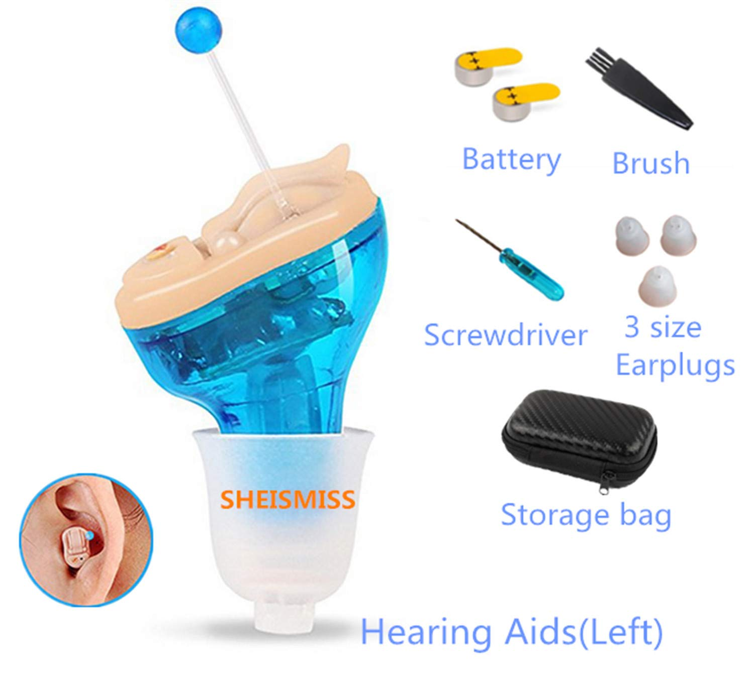 Hearing Amplifiers Hearing aid Earpiece Ear Aids Micro Mini Invisible Wireless BTN Inner Ear Deaf Aid Low Noise Hearing Device Digital Tone Sound Amplifier Elderly Parents Magnifier Gift (L) by SHEISMISS
