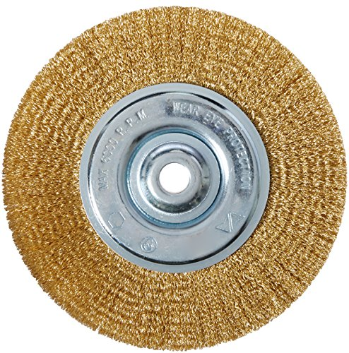 Brush Brass Wheel - Vermont American 16802 6-Inch Fine Brass Wire Wheel with Arbor