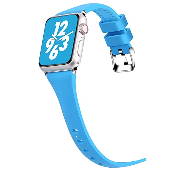 Moretek Compatible for Apple Watch 42mm 44mm Women Bands,Soft Silicone Slim Replacement Band for iWatch 42MM 44MM Series 4 3 2 1 (Blue, 42MM/44MM)