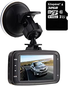 GS8000L Car DVR 1080P,HD Traveling Driving Data Recorder Camcorder Vehicle Camera Night Version Dashboard Dash Cam with 140 Degree Angle View Black,with 32GB Card