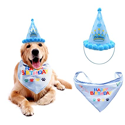 Dog Birthday Hat Pet Boy Girl Set Triangle Scarf Bandana Scarfs With Cute