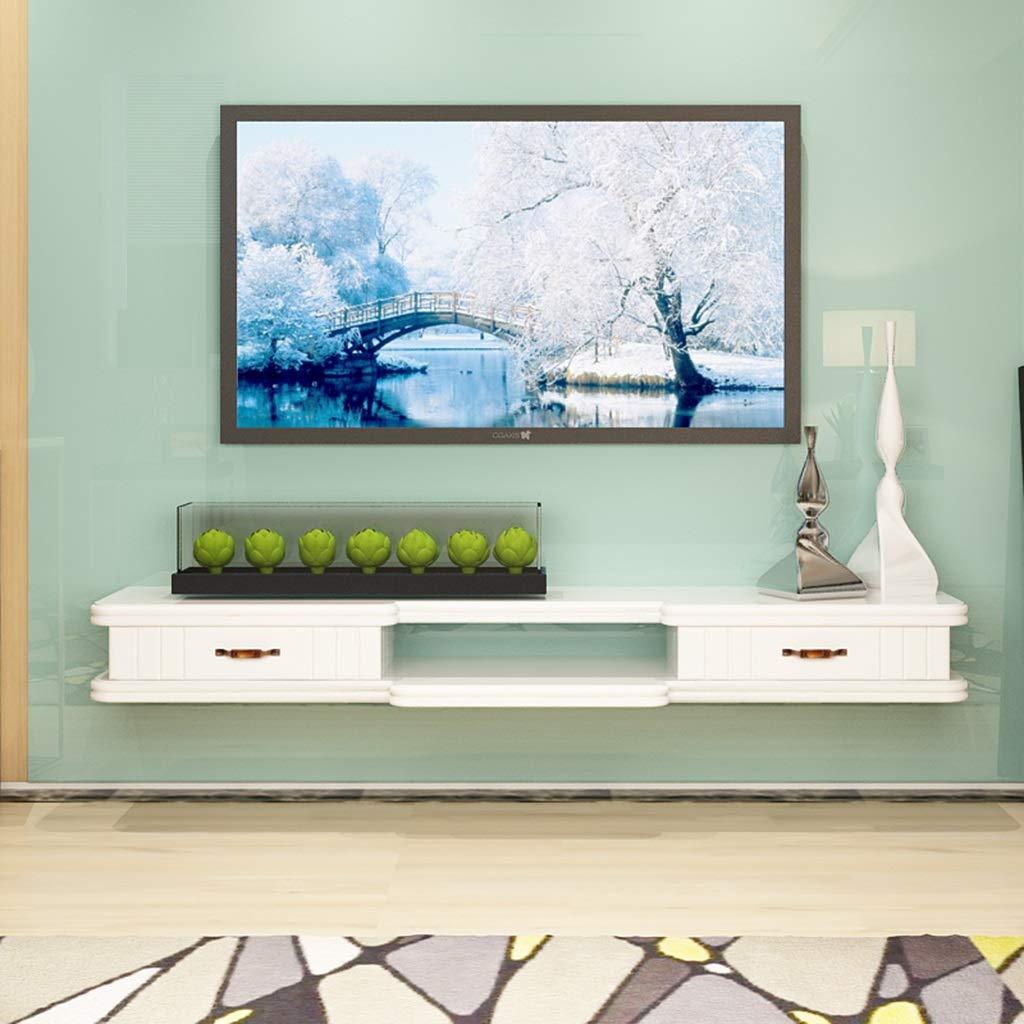 ホワイトウォールマウント棚テレビフローティング棚テレビコンソールルーターラック収納ボックスセットトップボックス壁の背景装飾フレーム付き2引き出し B07R8LYPZP