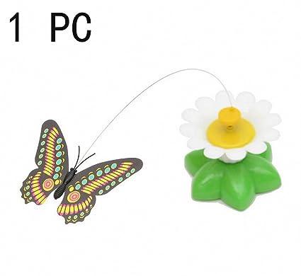 Eléctrico El plastico Vuelo de la mariposa alrededor Flores Gracioso Juguetes para gatos Eléctrico Tease Cat