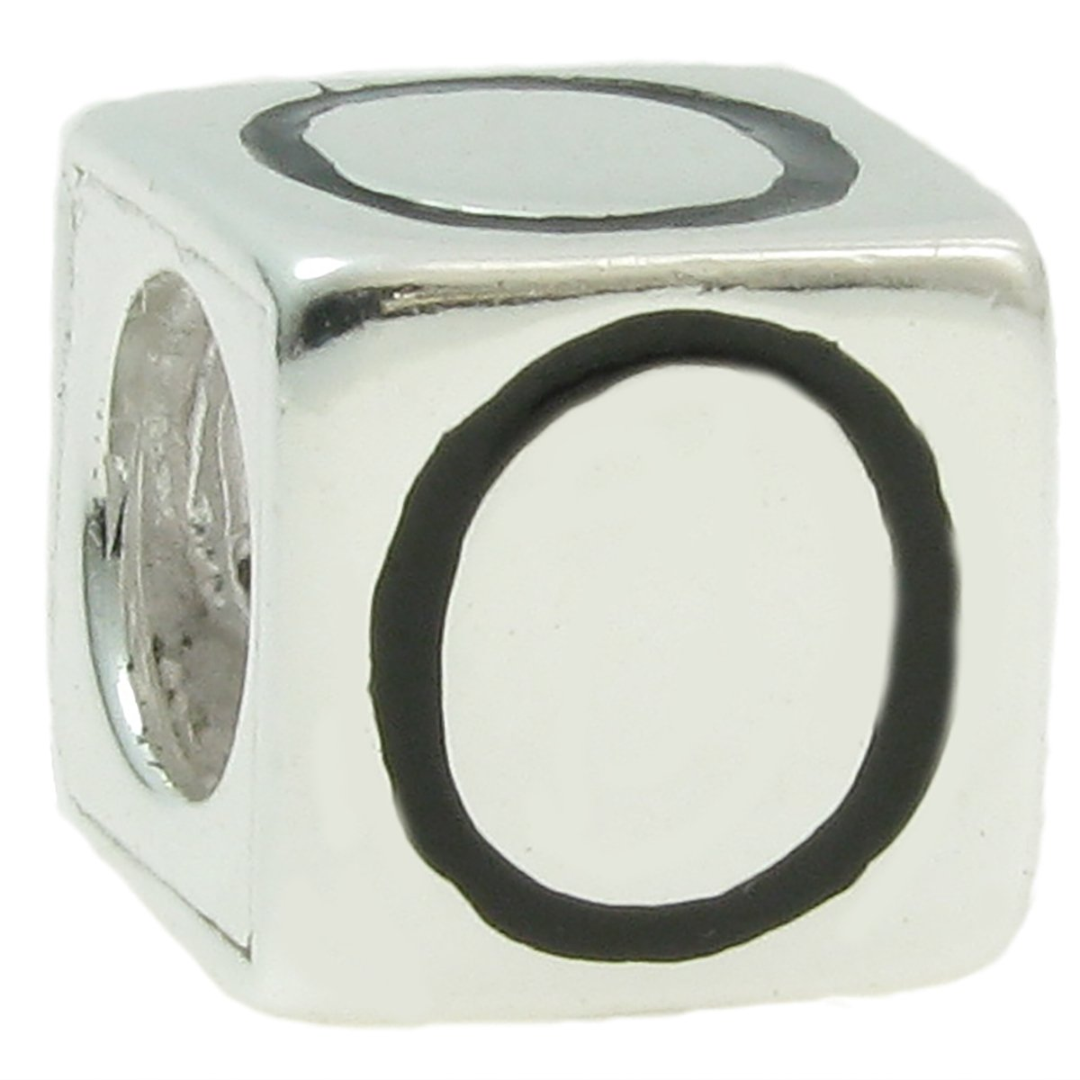 Queenberry Sterling Silver Cube Letter European Style Bead Charm