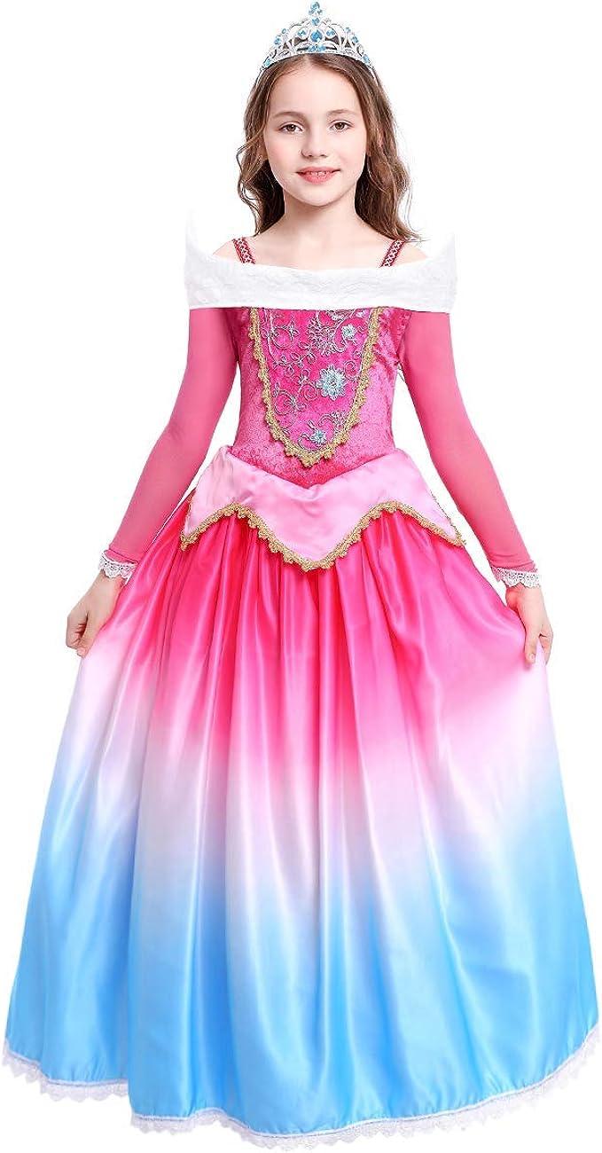 FYMNSI Disfraz de Princesa Aurora Vestido Traje de Bella Durmiente ...