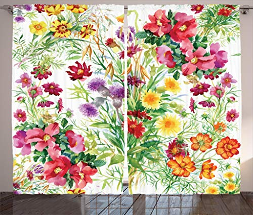 """Ambesonne Flower Curtains, Floral Design Garden Like Romantic Theme Image with Leaves Rose Blooms Daisies Image, Living Room Bedroom Window Drapes 2 Panel Set, 108"""" X 63"""", Yellow Pink"""