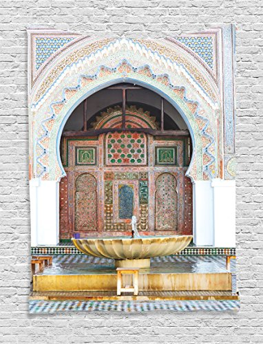 Ambesonne Arabian Decor Collection, Golden Historical Fountain Photo in Morocco Africa Old Antique Mousque Palace Heritage Art, Bedroom Living Room Dorm Wall Hanging Tapestry, Multi (Arabian Nights Wall Art)