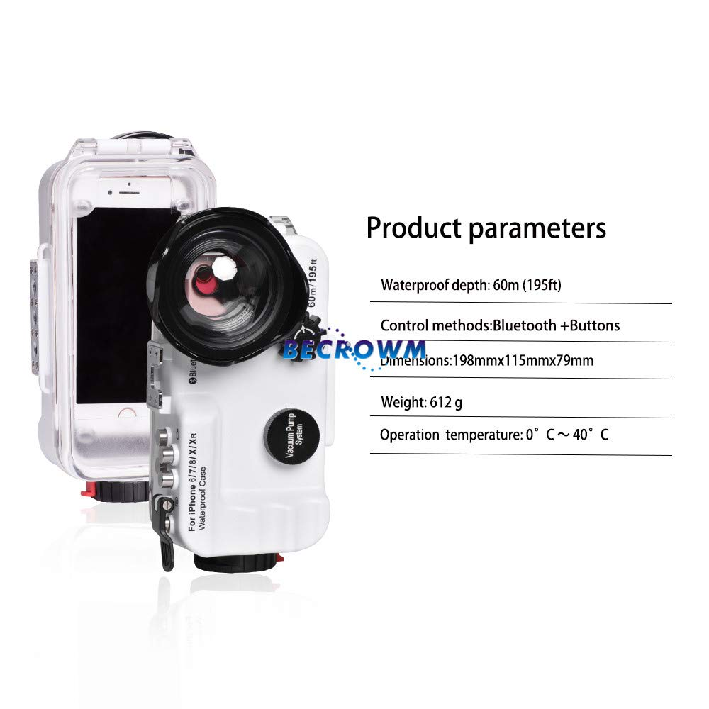 BECROWM EU Bluetooth Control iPhone 6P//7P//8P//XS Max 195FT//60M IPX8 Waterproof case Professional Diving Underwater Swimming Surfing Snorkeling house Photo Video with Wide Angle Dome Port Lens
