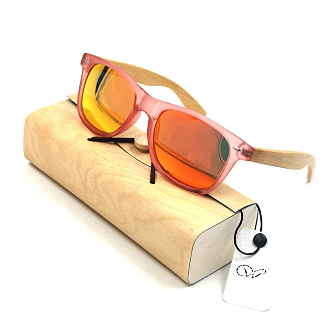 Amazon.com: Plastic Bamboo Arms Sunglasses Blue Polarized Lenses lucency Red Men Women Sunglasses (Pink, Red): Clothing