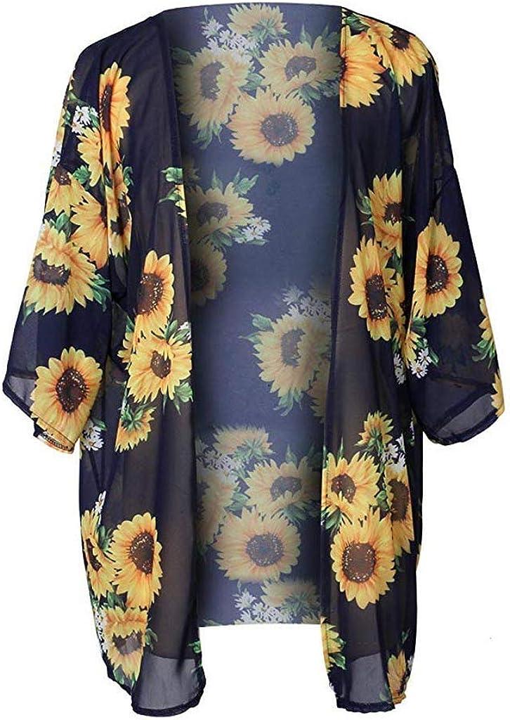 Juesi Womens Floral Chiffon Kimono Cardigans Loose Beach Cover Up Half Sleeve Smock Tops Swimsuit Bikini Coverups