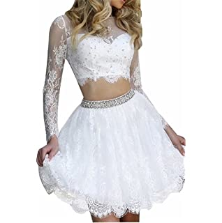 1ab36227af1 Scarisee Women s Short Halter Homecoming Dresses Lace Appliqued Prom Party  GownSA1
