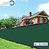 Eden's Decor Customizable Commercial Grade Fence Screen Privacy Screen 140 GSM (4ft X 25ft, Dark Green)