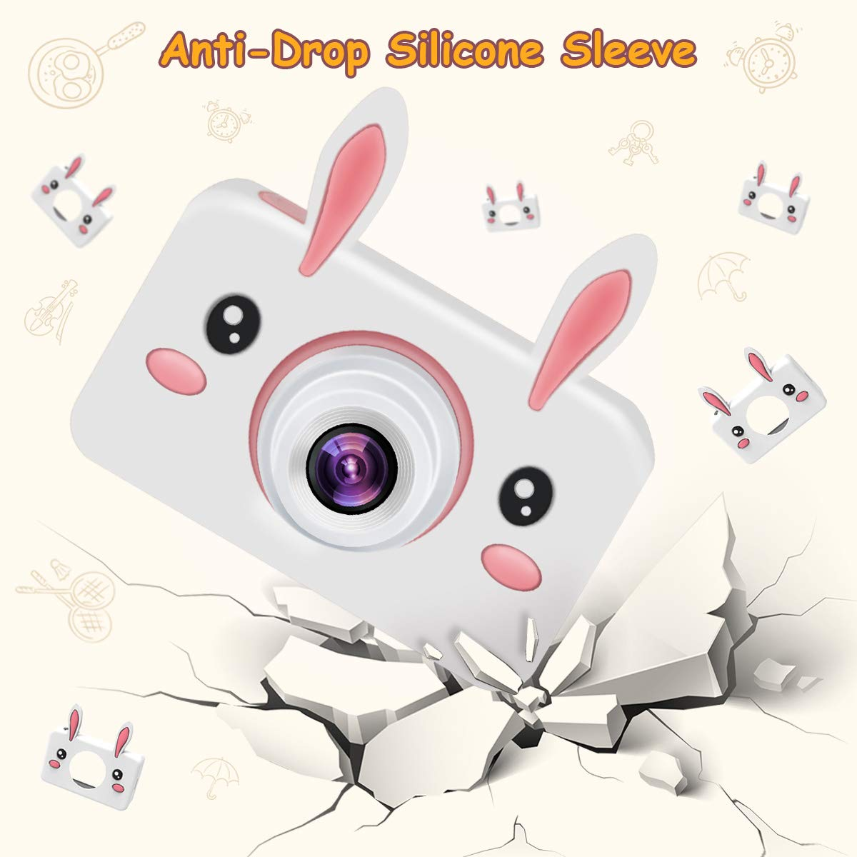 Kids Camera Gifts for Girls, 2'' IPS Screen 8.0MP Shockproof Mini Child Video Camera Camcorder for Age 3 - 14 Kids with Soft Rabbit Silicone Cover - Pink (16GB Memory Card Included) by AIXPI (Image #7)