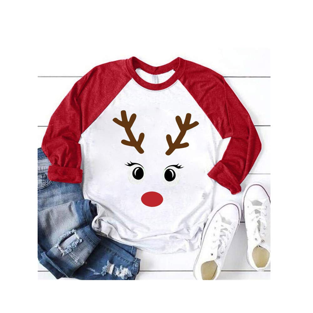 Christmas Women Color Patchwork Print Tops Hooded Pullover Blouse T-Shirts (M, Red) by DRAGONHOO