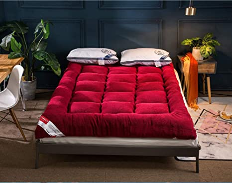Red Queen Size 3x60x80 Traditional Japanese Floor Rolling Futon Mattress Bed