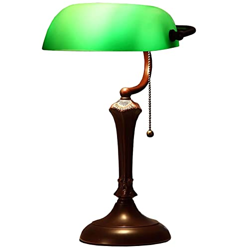 Bieye L10591 Green Traditional Style Stained Glass Banker Desk Lamp Table Lamp with 10-inches Wide Shade, 16 inches Tall